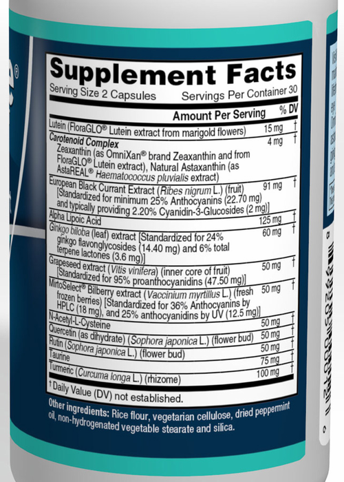 VisiVite Balanced Ocular Support Supplement Facts:
