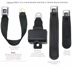 Lap Belt for Low Seat - Retractable with GM Buckle Seat Belt