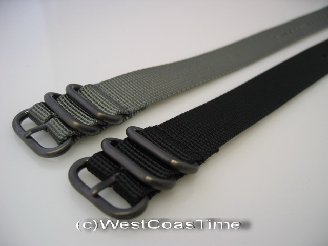 Mm Black Ballistic Nylon Diver Strap  Rings Watch Band