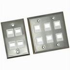 C2g 3-port Single Gang Multimedia Keystone Wall Plate - Stainless Steel