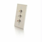 C2g Single Gang Composite Video + Stereo Audio Wall Plate - Brushed Aluminum