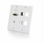 C2g Trulink Dual Gang Vga+3.5mm+4 Keystone Over Cat5 Wall Plate Receiver- White