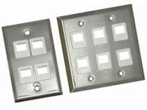 4 PORT SINGLE GANG FACE PLATE STAINLESS