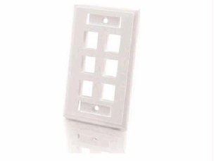 6-Port Keystone Wallplate White
