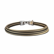ALOR Modern Cable Mix Black & Yellow Mixed Metals Hairline Bangle Bracelet