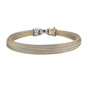 ALOR Modern Cable Mix Yellow & Stainless Steel Mixed Metals Hairline Bangle Bracelet