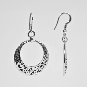 Lois Hill Front View Open Circle Dangle Hoop Earrings - Cut Out - SOLD OUT