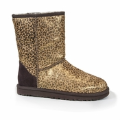 UGG Women's Classic Short Metallic Leopard Calf Hair Boot - CS
