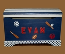 Handpainted Toy Chest - Good Sports Blue