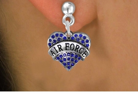 "<BR>    AIR FORCE EARRINGS WHOLESALE<bR>              EXCLUSIVELY OURS!! <Br>         AN ALLAN ROBIN DESIGN!! <BR>   LEAD, NICKEL & CADMIUM FREE!! <BR>  W1477SE - SILVER TONE ""AIR FORCE"" <BR> BLUE CRYSTAL HEART CHARM EARRINGS <BR>      FROM $5.40 TO $10.45 �2013"