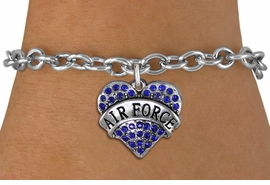 "<BR>  AIR FORCE JEWELRY WHOLESALE <bR>                EXCLUSIVELY OURS!! <Br>           AN ALLAN ROBIN DESIGN!! <BR>  CLICK HERE TO SEE 1000+ EXCITING <BR>        CHANGES THAT YOU CAN MAKE! <BR>     LEAD, NICKEL & CADMIUM FREE!! <BR>  W1477SB - SILVER TONE ""AIR FORCE"" <BR> BLUE CRYSTAL HEART CHARM & BRACELET <BR>         FROM $5.50 TO $9.35 �2013"
