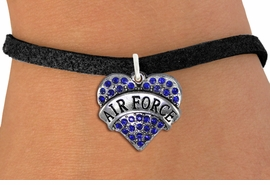 "<BR>  AIR FORCE JEWELRY WHOLESALE <bR>                EXCLUSIVELY OURS!! <Br>           AN ALLAN ROBIN DESIGN!! <BR>  CLICK HERE TO SEE 1000+ EXCITING <BR>        CHANGES THAT YOU CAN MAKE! <BR>     LEAD, NICKEL & CADMIUM FREE!! <BR>  W1477SB - SILVER TONE ""AIR FORCE"" <BR> BLUE CRYSTAL HEART CHARM & BRACELET <BR>         FROM $5.15 TO $9.00 �2013"