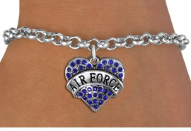 "<BR>  AIR FORCE JEWELRY WHOLESALE <bR>                EXCLUSIVELY OURS!! <Br>           AN ALLAN ROBIN DESIGN!! <BR>  CLICK HERE TO SEE 1000+ EXCITING <BR>        CHANGES THAT YOU CAN MAKE! <BR>     LEAD, NICKEL & CADMIUM FREE!! <BR>  W1477SB - SILVER TONE ""AIR FORCE"" <BR> BLUE CRYSTAL HEART CHARM & BRACELET <BR>         FROM $5.40 TO $9.85 �2013"