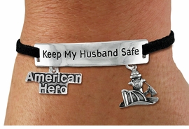 """<Br>            AN ALLAN ROBIN DESIGN!!<Br>       CADMIUM, LEAD & NICKEL FREE!! <BR>   SPECIAL """"KEEP MY HUSBAND SAFE"""" <Br>  W19854B - SILVER TONE AND BLACK <BR>    SUEDE CHARM BRACELET WITH <BR>    FIRE FIGHTER THEMED CHARMS <BR>        FROM $4.16 TO $9.25 �2012"""