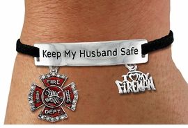 """<Br>            AN ALLAN ROBIN DESIGN!!<Br>       CADMIUM, LEAD & NICKEL FREE!! <BR>   SPECIAL """"KEEP MY HUSBAND SAFE"""" <Br>  W19855B - SILVER TONE AND BLACK <BR>    SUEDE CHARM BRACELET WITH <BR>    FIRE FIGHTER THEMED CHARMS <BR>        FROM $5.63 TO $12.50 �2012"""