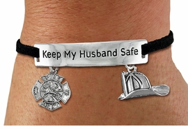 "<Br>            AN ALLAN ROBIN DESIGN!!<Br>       CADMIUM, LEAD & NICKEL FREE!! <BR>   SPECIAL ""KEEP MY HUSBAND SAFE"" <Br>  W19856B - SILVER TONE AND BLACK <BR>    SUEDE CHARM BRACELET WITH <BR>    FIRE FIGHTER THEMED CHARMS <BR>        FROM $4.16 TO $9.25 �2012"