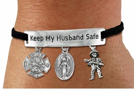 "<Br>            AN ALLAN ROBIN DESIGN!!<Br>       CADMIUM, LEAD & NICKEL FREE!! <BR>   SPECIAL ""KEEP MY HUSBAND SAFE"" <Br>  W19861B - SILVER TONE AND BLACK <BR>    SUEDE CHARM BRACELET WITH FIRE <BR>   FIGHTER CHARMS & VIRGIN MARY<BR>        FROM $5.06 TO $11.25 �2012"