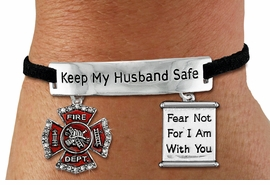 """<Br>            AN ALLAN ROBIN DESIGN!!<Br>       CADMIUM, LEAD & NICKEL FREE!! <BR>   SPECIAL """"KEEP MY HUSBAND SAFE"""" <Br>  W19868B - SILVER TONE AND BLACK <BR>    SUEDE CHARM BRACELET WITH <BR>    FIRE FIGHTER THEMED CHARMS <BR>        FROM $5.63 TO $12.50 �2012"""