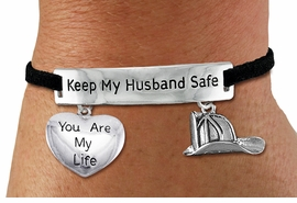 "<Br>            AN ALLAN ROBIN DESIGN!!<Br>       CADMIUM, LEAD & NICKEL FREE!! <BR>   SPECIAL ""KEEP MY HUSBAND SAFE"" <Br>  W19870B - SILVER TONE AND BLACK <BR>    SUEDE CHARM BRACELET WITH <BR>    FIRE FIGHTER THEMED CHARMS <BR>        FROM $4.50 TO $10.00 �2012"