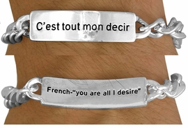 "<BR>              AN ALLAN  ROBIN DESIGN<Br>                  EXCLUSIVELY OURS!!!<BR>     W11394B - MEN'S SILVER FINISH<br>   ""YOU ARE ALL I DESIRE"" FRENCH &<Br>ENGLISH BRACELET FROM $3.65 TO $7.50"