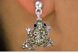 <BR>               ANIMAL  EARRINGS<bR>              EXCLUSIVELY OURS!! <Br>         AN ALLAN ROBIN DESIGN!! <BR>   LEAD, NICKEL & CADMIUM FREE!! <BR>  W1442SE - SILVER TONE WITH LIME <BR> GREEN CRYSTAL FROG CHARM EARRINGS <BR>      FROM $5.40 TO $10.45 �2013