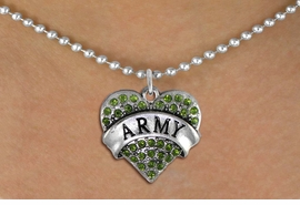 "<BR>  ARMY NECKLACE JEWELRY WHOLESALE <bR>                   EXCLUSIVELY OURS!! <Br>              AN ALLAN ROBIN DESIGN!! <BR>     CLICK HERE TO SEE 1000+ EXCITING <BR>           CHANGES THAT YOU CAN MAKE! <BR>        LEAD, NICKEL & CADMIUM FREE!! <BR> W1480SN - SILVER TONE ""ARMY"" GREEN <BR>     CRYSTAL HEART CHARM AND NECKLACE <BR>            FROM $5.90 TO $9.35 �2013"