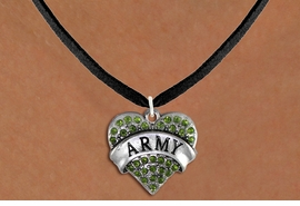 "<BR>  ARMY NECKLACE JEWELRY WHOLESALE <bR>                   EXCLUSIVELY OURS!! <Br>              AN ALLAN ROBIN DESIGN!! <BR>     CLICK HERE TO SEE 1000+ EXCITING <BR>           CHANGES THAT YOU CAN MAKE! <BR>        LEAD, NICKEL & CADMIUM FREE!! <BR> W1480SN - SILVER TONE ""ARMY"" GREEN <BR>     CRYSTAL HEART CHARM AND NECKLACE <BR>            FROM $5.55 TO $9.00 �2013"