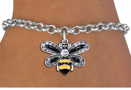 <BR>                         BEE JEWELRY <bR>                EXCLUSIVELY OURS!! <Br>           AN ALLAN ROBIN DESIGN!! <BR>  CLICK HERE TO SEE 1000+ EXCITING <BR>        CHANGES THAT YOU CAN MAKE! <BR>     LEAD, NICKEL & CADMIUM FREE!! <BR>   W1439SB - SILVER TONE WITH CLEAR <BR> CRYSTAL BUMBLEBEE CHARM & BRACELET <BR>         FROM $5.15 TO $9.00 �2013