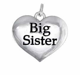 "<BR>CADMIUM,  LEAD & NICKEL FREE!! <BR>W1297SC - POLISHED SILVER TONE <BR>      ""BIG SISTER"" HEART CHARM <BR>             FROM $1.90 TO $4.50"