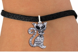 <BR>                        CAT JEWELRY <bR>                EXCLUSIVELY OURS!! <Br>           AN ALLAN ROBIN DESIGN!! <BR>  CLICK HERE TO SEE 1000+ EXCITING <BR>        CHANGES THAT YOU CAN MAKE! <BR>     LEAD, NICKEL & CADMIUM FREE!! <BR> W1438SB - SILVER TONE JET AND CLEAR <BR>    CRYSTAL CAT CHARM & BRACELET <BR>         FROM $5.15 TO $9.00 �2013