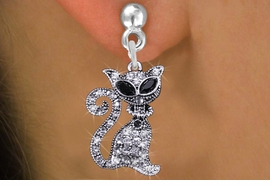 <BR>                        CAT JEWELRY <bR>              EXCLUSIVELY OURS!! <Br>         AN ALLAN ROBIN DESIGN!! <BR>   LEAD, NICKEL & CADMIUM FREE!! <BR>  W1438SE - SILVER TONE WITH CLEAR <BR> AND JET CRYSTAL CAT CHARM EARRINGS <BR>      FROM $5.40 TO $10.45 �2013