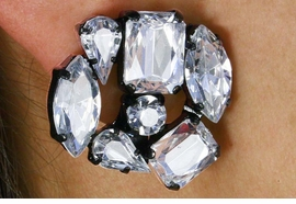 <BR>                        CLIP EARRINGS<BR>                 LEAD AND NICKEL FREE<BR> W17760E - BLACK AND CLEAR FACETED  <BR>       STONE CLUSTER CLIP EARRINGS<BR>                 FROM $5.06 TO $11.25