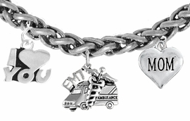 <BR>      EMT, I LOVE YOU MOM CHARM BRACELET<BR>                             AN ALLAN ROBIN DESIGN!! <Br>                         CADMIUM, LEAD & NICKEL FREE!!  <Br> W1530-380-1837B17 ON A WHEAT CHAIN BRACELET <BR>                              FROM $7.50 TO $9.50 �2016