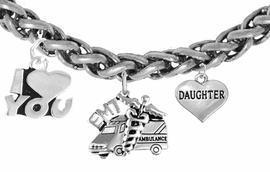 <BR>      EMT, I LOVE YOU DAUGHTER CHARM BRACELET<BR>                             AN ALLAN ROBIN DESIGN!! <Br>                         CADMIUM, LEAD & NICKEL FREE!!  <Br> W1530-380-1831B17 ON A WHEAT CHAIN BRACELET <BR>                              FROM $7.50 TO $9.50 �2016