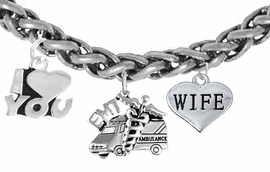 <BR>            EMT, I LOVE YOU WIFE CHARM BRACELET<BR>                             AN ALLAN ROBIN DESIGN!! <Br>                         CADMIUM, LEAD & NICKEL FREE!!  <Br> W1530-380-1876B17 ON A WHEAT CHAIN BRACELET <BR>                              FROM $7.50 TO $9.50 �2016