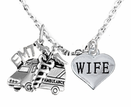 <BR>            EMT, I LOVE YOU WIFE CHARM NECKLACE<BR>                             AN ALLAN ROBIN DESIGN!! <Br>                         CADMIUM, LEAD & NICKEL FREE!!  <Br>             W1530-1876N1 ON A CABLE CHAIN NECKLACE <BR>                              FROM $7.50 TO $9.50 �2016
