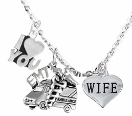 <BR>         EMT, I LOVE YOU WIFE CHARM NECKLACE<BR>                             AN ALLAN ROBIN DESIGN!! <Br>                         CADMIUM, LEAD & NICKEL FREE!!  <Br> W1530-380-1876N1 ON A CABLE CHAIN NECKLACE <BR>                              FROM $7.50 TO $9.50 �2016