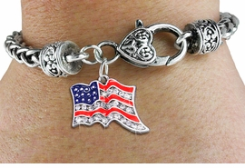 <bR>                   EXCLUSIVELY OURS!!<BR>             AN ALLAN ROBIN DESIGN!!<BR>     CADMIUM, LEAD & NICKEL FREE!! <BR>W1317SB - PATRIOTIC USA FLAG <BR>CRYSTAL CHARM & HEART CLASP BRACELET <BR>         FROM $5.63 TO $12.50 �2012