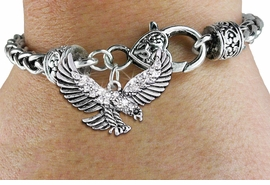 <bR>                   EXCLUSIVELY OURS!!<BR>             AN ALLAN ROBIN DESIGN!!<BR>     CADMIUM, LEAD & NICKEL FREE!! <BR>W1319SB - DETAILED FLYING EAGLE CRYSTAL <BR>    CHARM & HEART CLASP BRACELET <BR>         FROM $5.63 TO $12.50 �2012