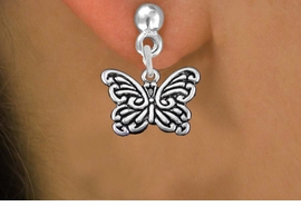 <bR>                  EXCLUSIVELY OURS!!<BR>            AN ALLAN ROBIN DESIGN!! <BR>  CADMIUM, LEAD & NICKEL FREE!! <BR> W1391SE - ANTIQUED SILVER TONE <BR>     BUTTERFLY CHARM EARRINGS <BR>      FROM $4.50 TO $8.35 �2013