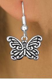<bR>                  EXCLUSIVELY OURS!!<BR>            AN ALLAN ROBIN DESIGN!! <BR>  CADMIUM, LEAD & NICKEL FREE!! <BR> W1391SE - ANTIQUED SILVER TONE <BR>     BUTTERFLY CHARM EARRINGS <BR>      FROM $3.25 TO $8.00 �2013