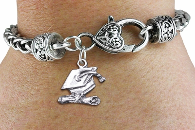 W1431SB - SILVER TONE GRADUATION CAP AND DIPLOMA CHARM ON HEART CLASP BRACELET