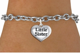 "<bR>                     EXCLUSIVELY OURS!!<BR>               AN ALLAN ROBIN DESIGN!!<BR>      CLICK HERE TO SEE 1000+ EXCITING<BR>         CHANGES THAT YOU CAN MAKE!<BR>        CADMIUM,  LEAD & NICKEL FREE!! <BR>W1296SB - POLISHED SILVER TONE <BR>""LITTLE SISTER"" HEART CHARM BRACELET <BR>           FROM $4.15 TO $8.00 �2012"