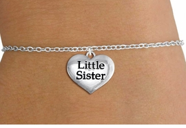 "<bR>                     EXCLUSIVELY OURS!!<BR>               AN ALLAN ROBIN DESIGN!!<BR>      CLICK HERE TO SEE 1000+ EXCITING<BR>         CHANGES THAT YOU CAN MAKE!<BR>        CADMIUM,  LEAD & NICKEL FREE!! <BR>W1296SB - POLISHED SILVER TONE <BR>""LITTLE SISTER"" HEART CHILD'S BRACELET <BR>           FROM $4.15 TO $8.00 �2012"