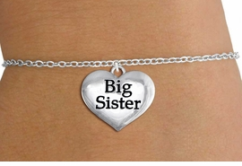 "<bR>                     EXCLUSIVELY OURS!!<BR>               AN ALLAN ROBIN DESIGN!!<BR>      CLICK HERE TO SEE 1000+ EXCITING<BR>         CHANGES THAT YOU CAN MAKE!<BR>        CADMIUM,  LEAD & NICKEL FREE!! <BR>W1297SB - POLISHED SILVER TONE <BR>""BIG SISTER"" HEART CHILD'S BRACELET <BR>           FROM $4.15 TO $8.00 �2012"