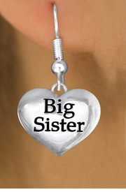 "<bR>               EXCLUSIVELY OURS!!<BR>         AN ALLAN ROBIN DESIGN!!<BR>CLICK HERE TO SEE 1000+ EXCITING<BR>   CHANGES THAT YOU CAN MAKE!<BR>      CADMIUM,  LEAD & NICKEL FREE!! <BR>W1297SE -  POLISHED SILVER TONE <BR>""BIG SISTER"" HEART CHARM EARRINGS  <BR>      FROM $3.25 TO $8.00 �2012"
