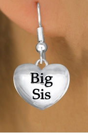 "<bR>               EXCLUSIVELY OURS!!<BR>         AN ALLAN ROBIN DESIGN!!<BR>CLICK HERE TO SEE 1000+ EXCITING<BR>   CHANGES THAT YOU CAN MAKE!<BR>      CADMIUM,  LEAD & NICKEL FREE!! <BR>W1298SE -  POLISHED SILVER TONE <BR>""BIG SIS"" HEART CHARM EARRINGS  <BR>      FROM $3.25 TO $8.00 �2012"
