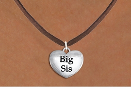 "<bR>               EXCLUSIVELY OURS!!<BR>         AN ALLAN ROBIN DESIGN!!<BR>CLICK HERE TO SEE 1000+ EXCITING<BR>   CHANGES THAT YOU CAN MAKE!<BR>      CADMIUM,  LEAD & NICKEL FREE!! <BR>W1298SN -  POLISHED SILVER TONE <Br>""BIG SIS"" HEART CHARM & NECKLACE <BR>      FROM $4.55 TO $8.00 �2012"
