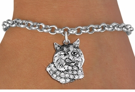 <bR>               EXCLUSIVELY OURS!!<Br>         AN ALLAN ROBIN DESIGN!! <BR>CLICK HERE TO SEE 1000+ EXCITING <BR>   CHANGES THAT YOU CAN MAKE!<BR>   LEAD, NICKEL & CADMIUM FREE!! <BR> W1352SB - DETAILED BOBCAT WITH <BR> CLEAR CRYSTALS CHARM & BRACELET <BR>     FROM $5.15 TO $9.00 �2012