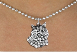 <bR>                  EXCLUSIVELY OURS!!<Br>            AN ALLAN ROBIN DESIGN!!<BR>   CLICK HERE TO SEE 1000+ EXCITING<BR>      CHANGES THAT YOU CAN MAKE!<BR>     LEAD, NICKEL & CADMIUM FREE!!<BR>W1352SN - DETAILED BOBCAT WITH <BR> CLEAR CRYSTALS CHARM NECKLACE <BR>         FROM $5.55 TO $9.00 �2012